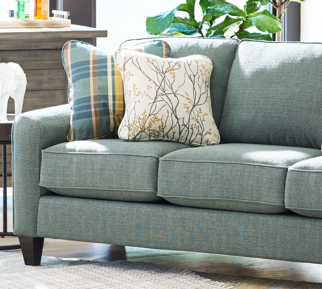Closeup of Talbot Sofa with custom cover and pillows
