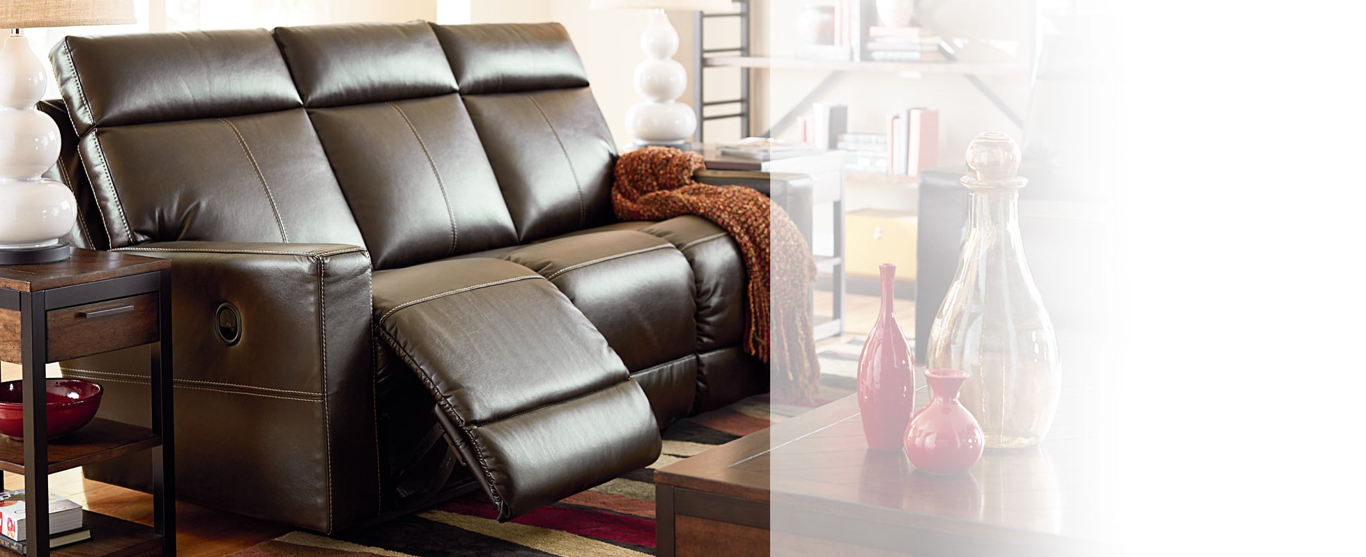 reclining sofas - Reclining Leather Sofa
