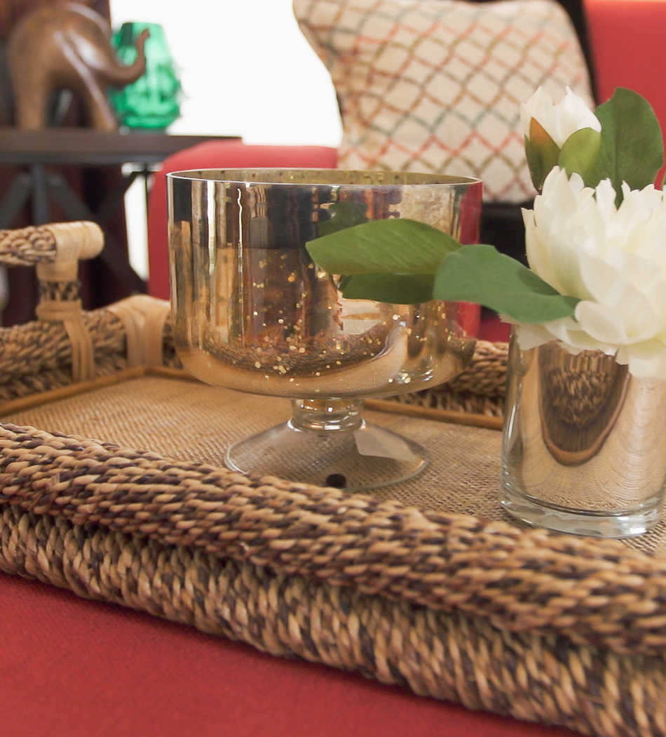 Closeup of accent pieces in Erica's redesigned living room
