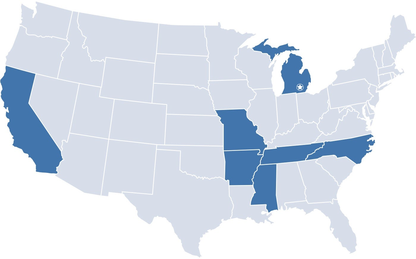 Map of states with La-Z-Boy headquarters, manufacturing and distribution centers