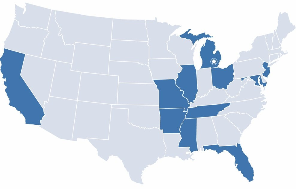 USA map with highlighted states of headquarters, manufacturing plants, and distribution centers