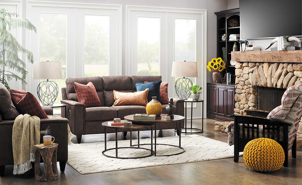 Living Room With Leather Meyer Premier Sofa And Gypsy Ottoman ...