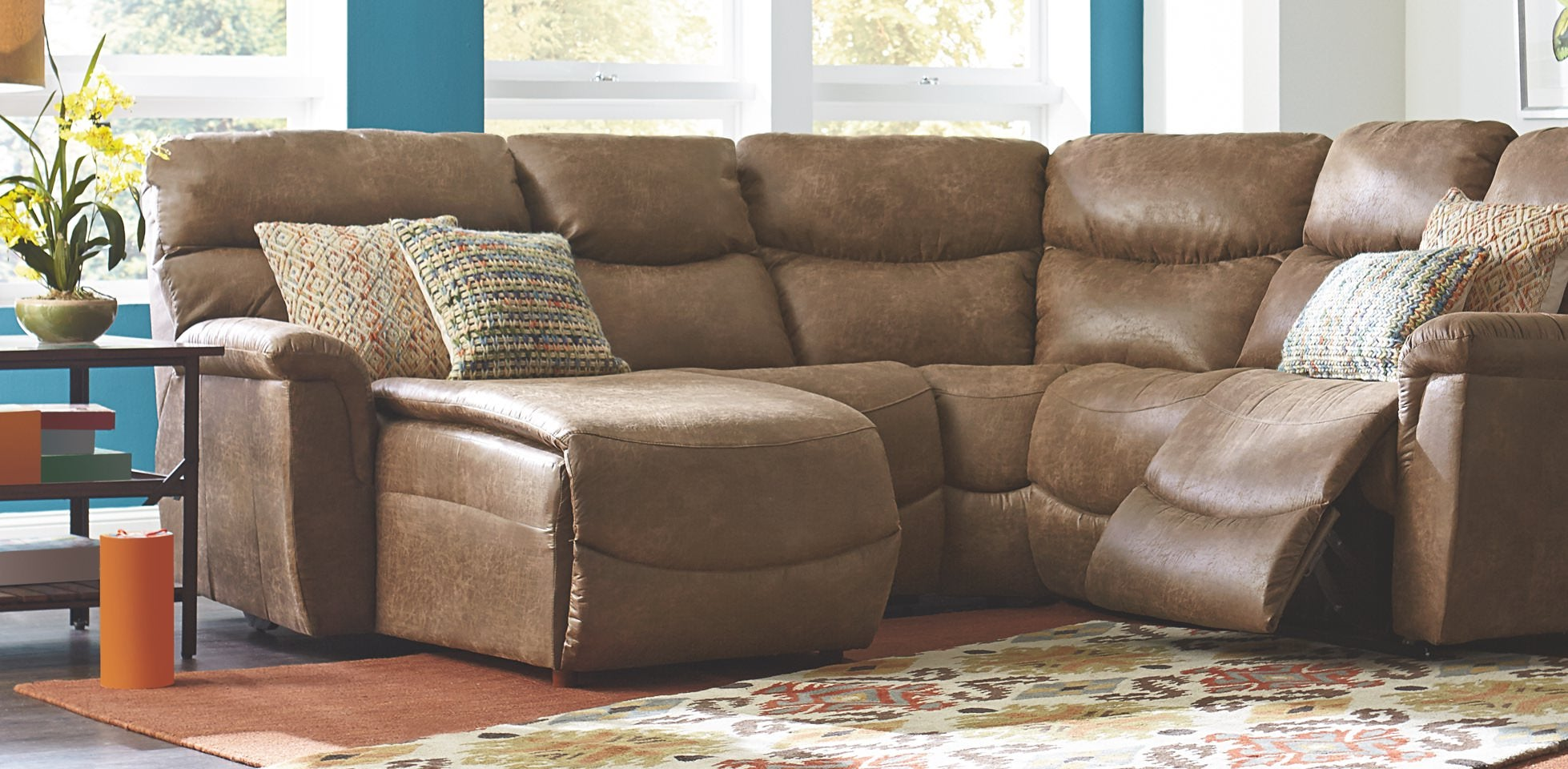 Living room with Renew™ leather James Sectional