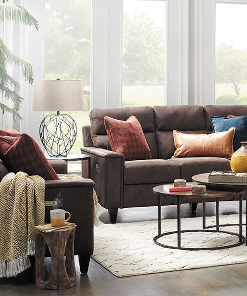 Living Room With Leather Meyer Sofa And Gypsy Ottoman
