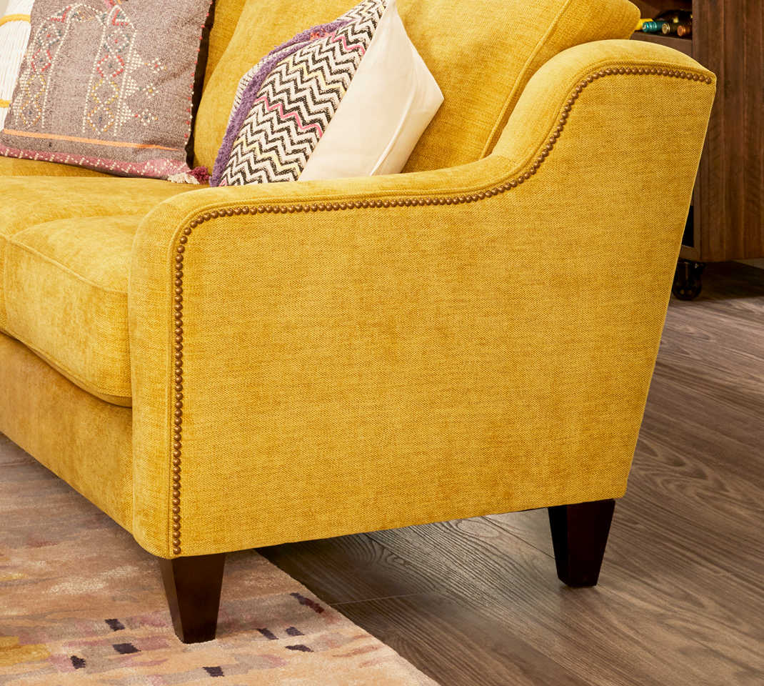 Closeup of Aberdeen Sofa with custom nailhead trim