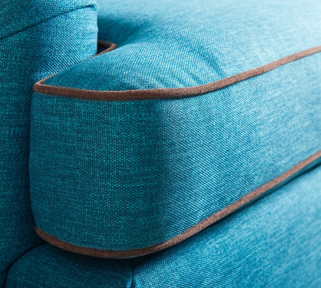 Closeup of York Sofa with contrasting welt trim