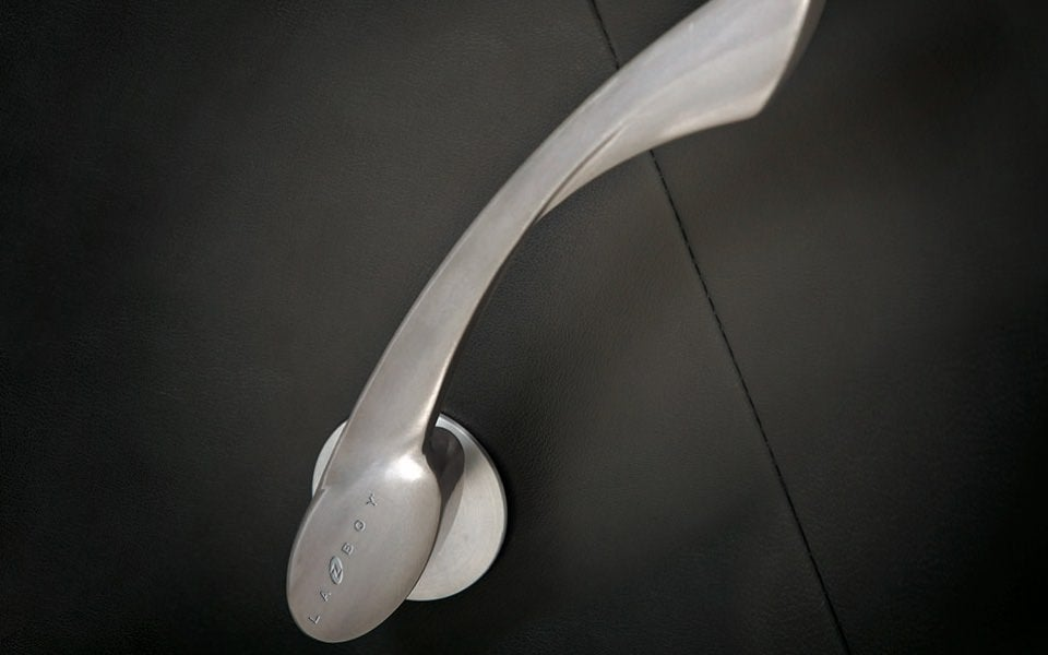 Closeup of brushed metal handle
