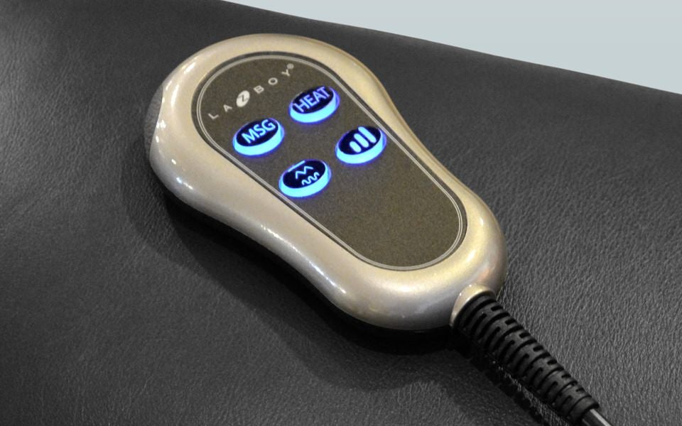 Closeup of heat and massage remote
