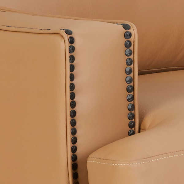 Closeup of black nickel nailhead trim
