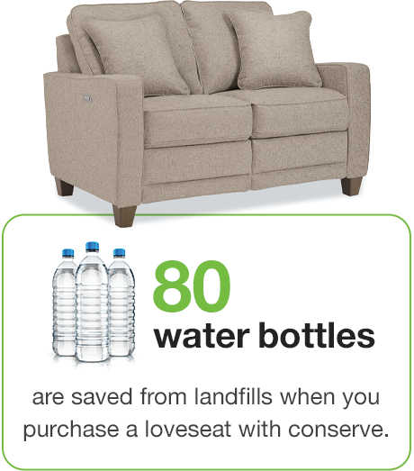 80 water bottles saved per loveseat