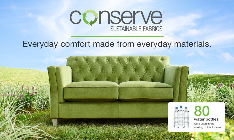 Loveseat with conserve cover in a field - Everyday comfort made from everyday materials