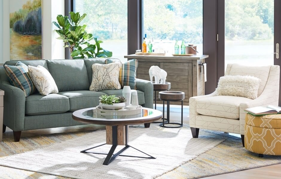 Living room with Talbot sofa and Avenue Occasional chair in iClean™ covers