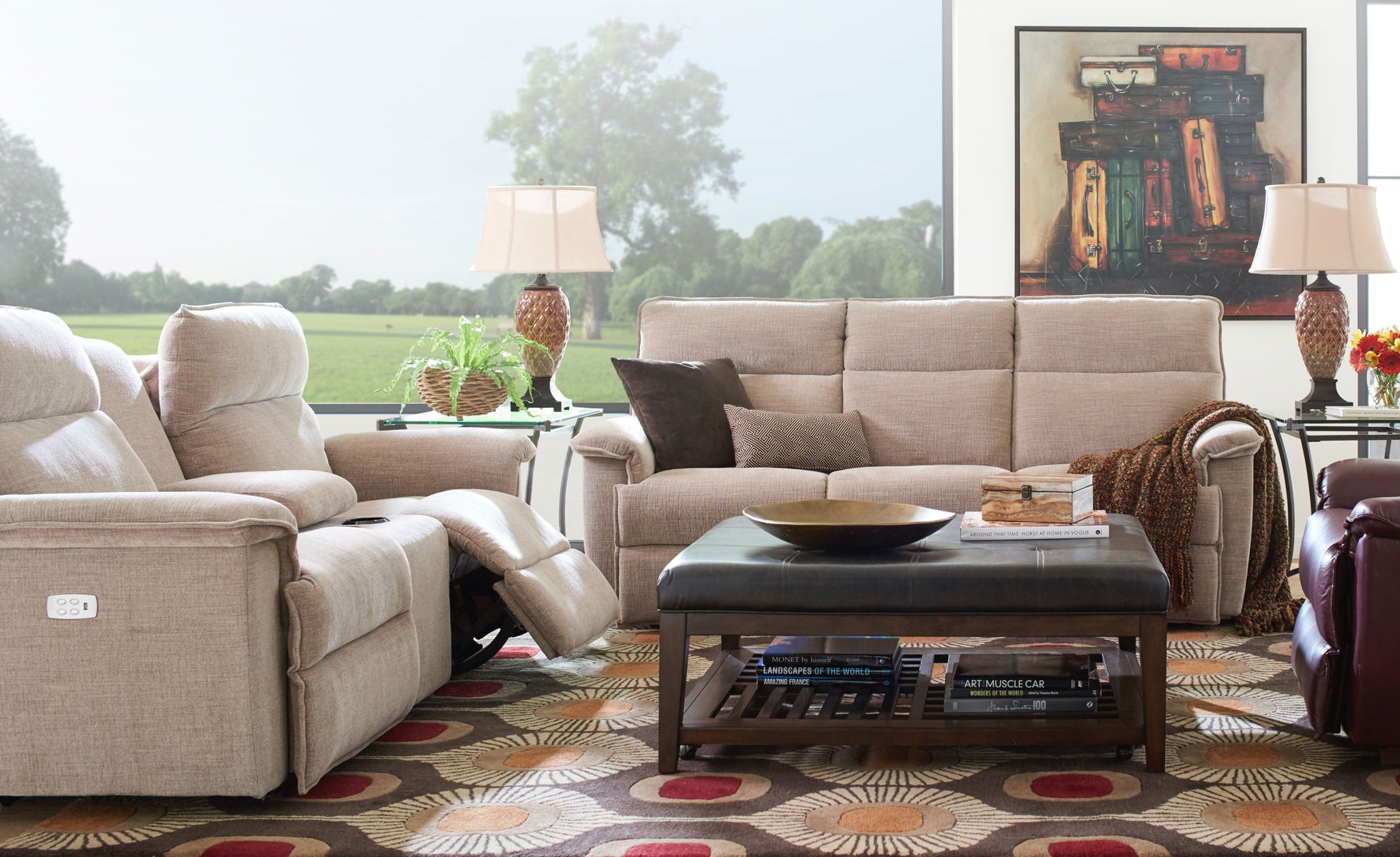 Living room scene with Jay PowerRecline Loveseat and Sofa with Power Headrest