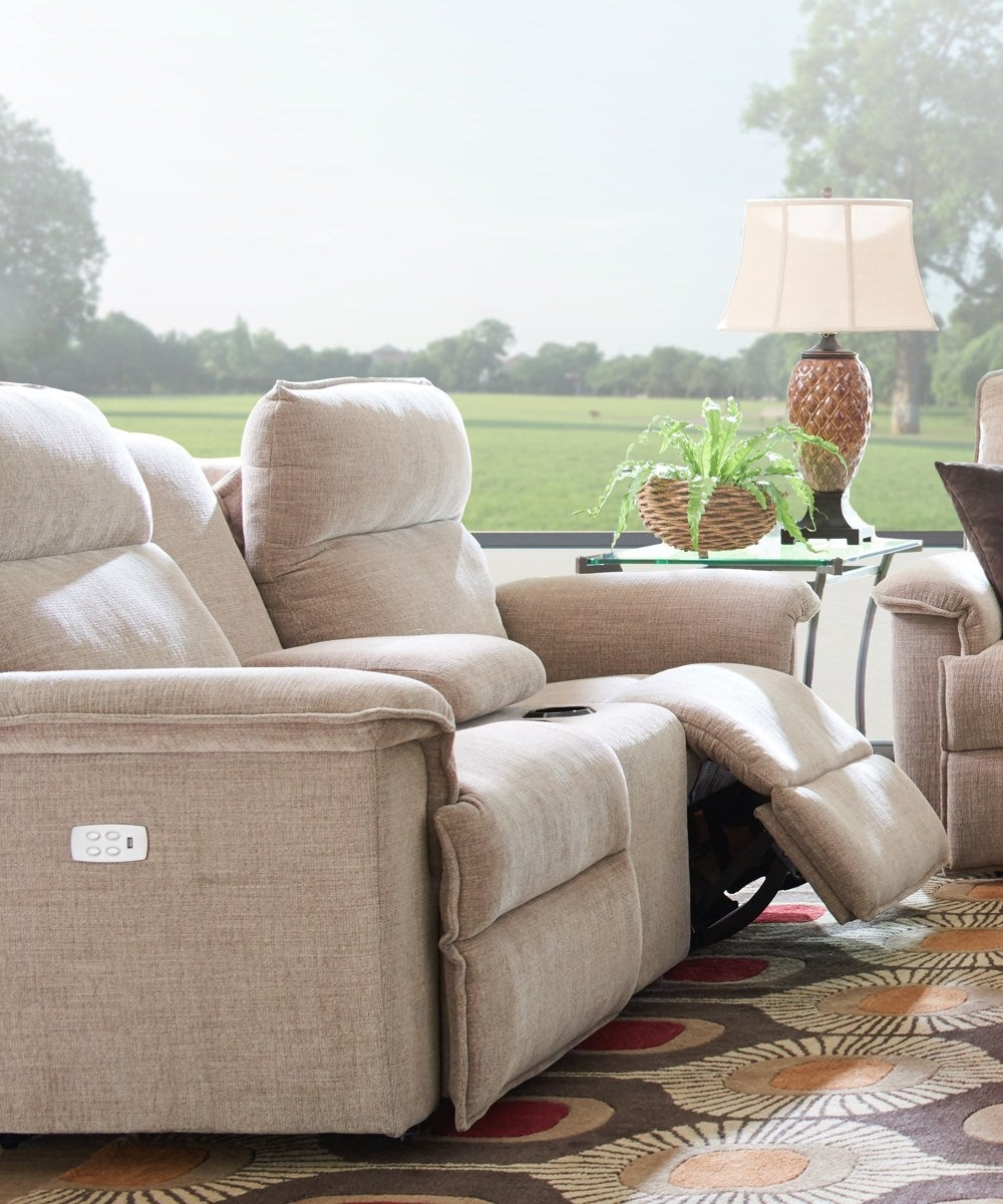 Living room scene with Jay Power Reclining Loveseat w/ Console and Jay Power Reclining Sofa