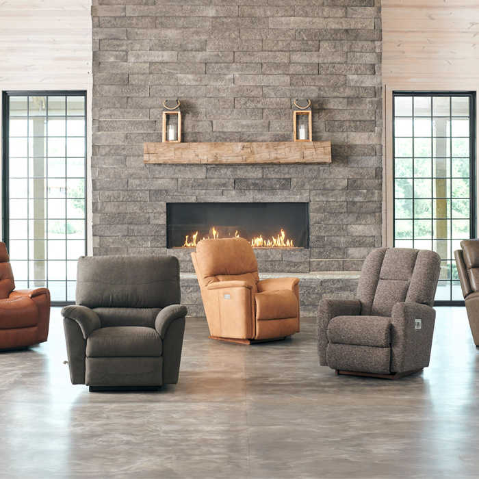 Empty room with four recliners