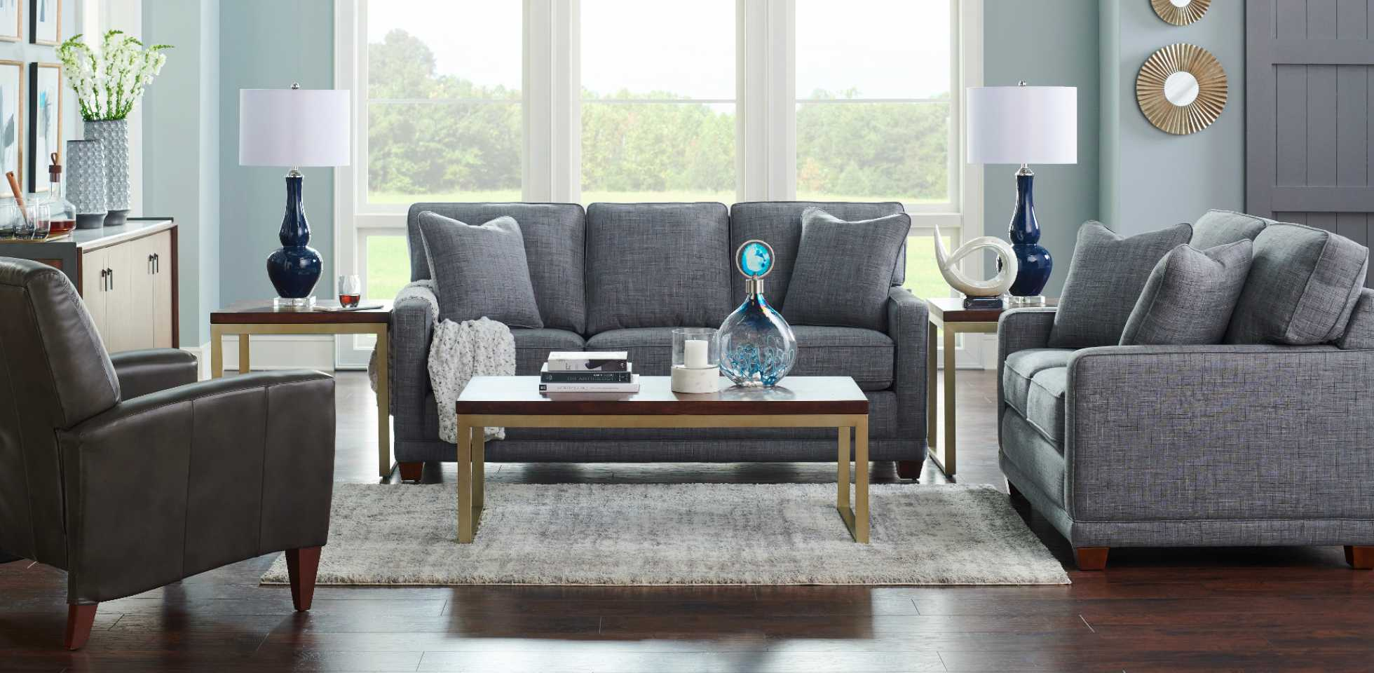 Living room scene with Kennedy Sofa, Kennedy Loveseat, and Cabot Low Leg Reclining Chair
