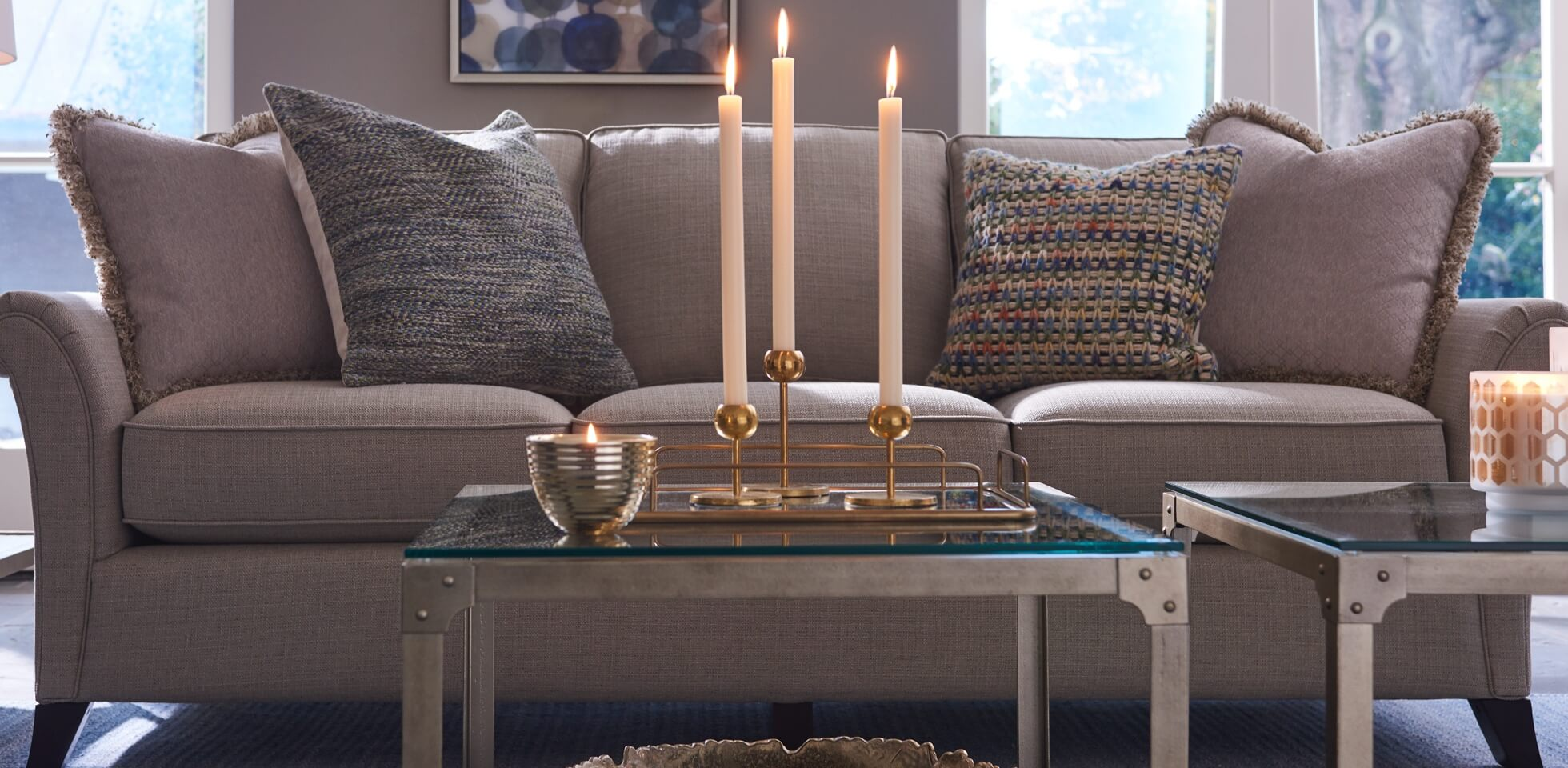 Phoebe sofa with tables and candles