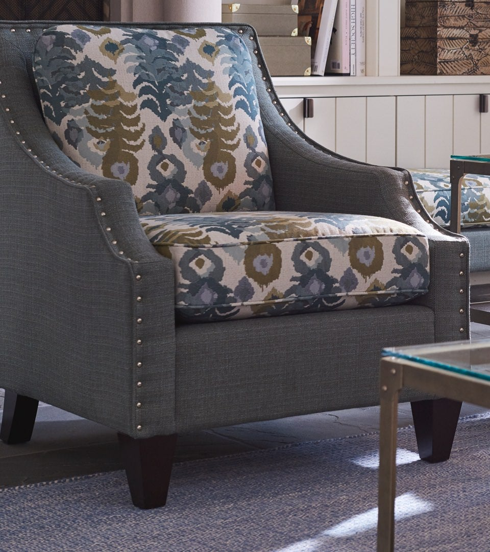 Gatsby Chair with nailhead trim and contrasting covers
