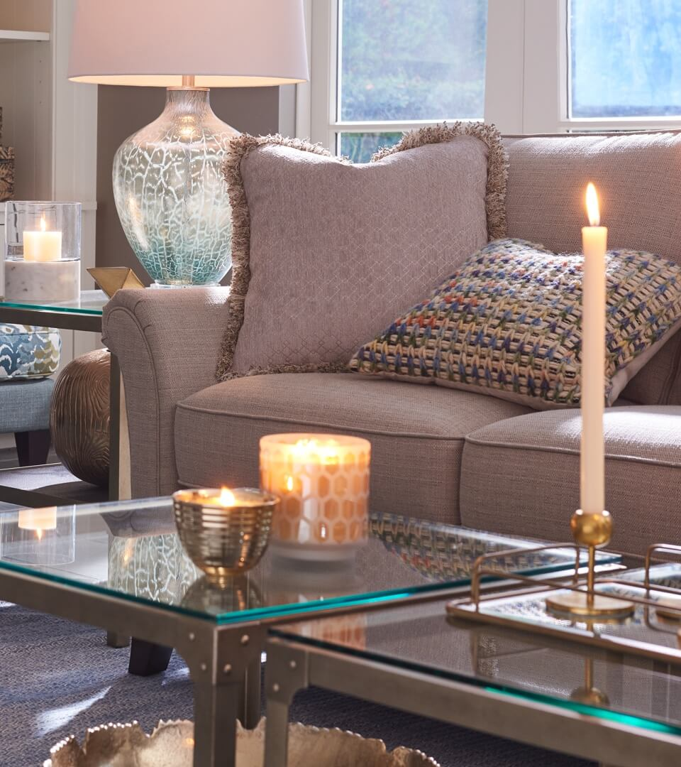 Close-up of tables, lamps, and Phoebe sofa