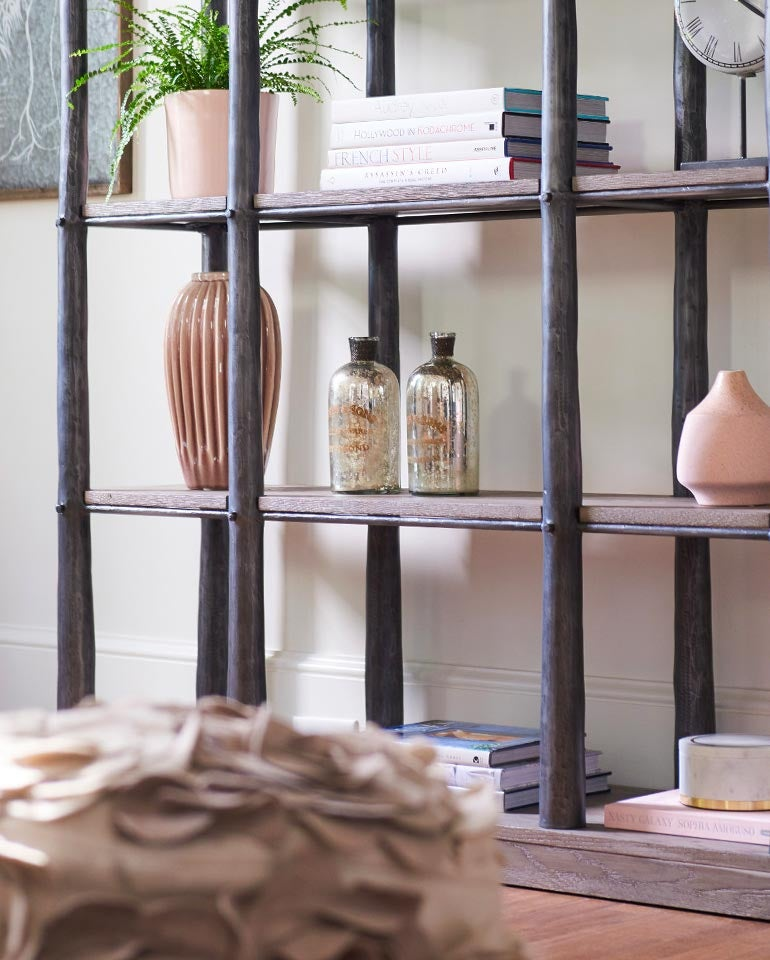 Closeup of wooden shelves with accents