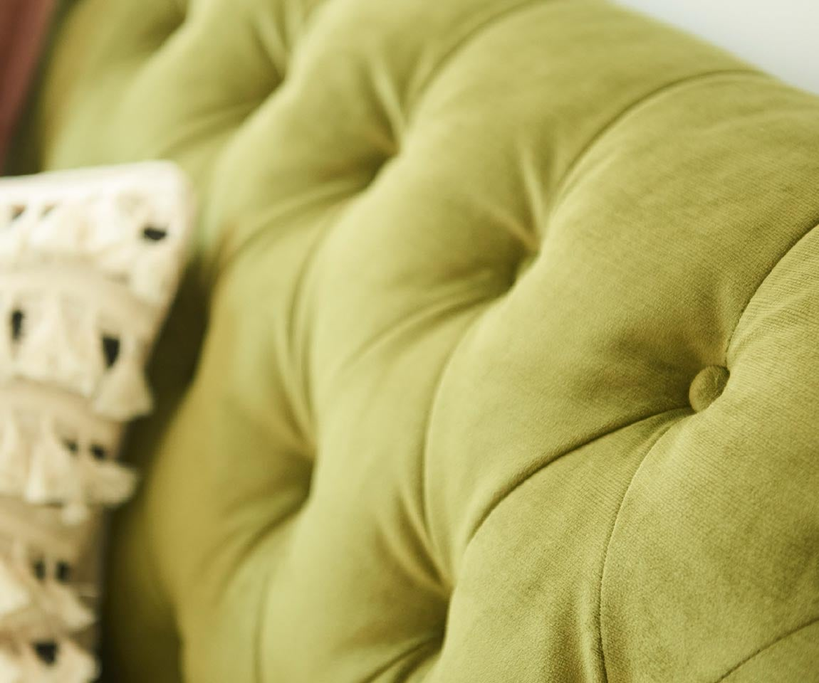 Closeup of Alexandria Sofa tufted back in conserve™ Sustainable Fabrics