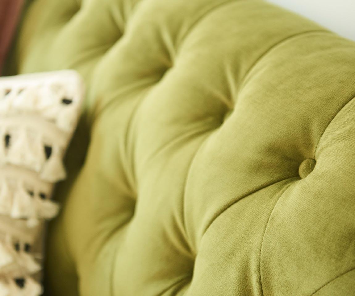 Closeup of Alexandria Sofa tufted back in conserve™ Sustainable Fabrics