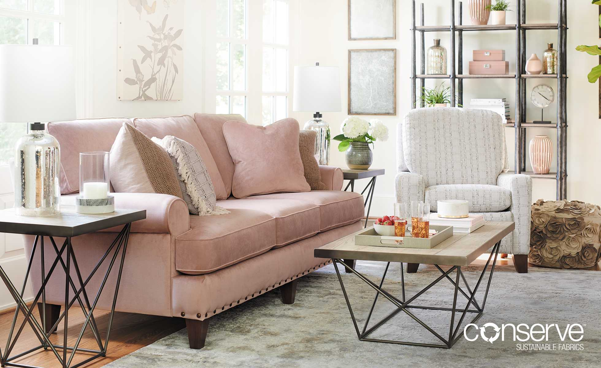 Living room with Porter Sofa and Cabot Reclining Chair covered in conserve Sustainable Fabrics