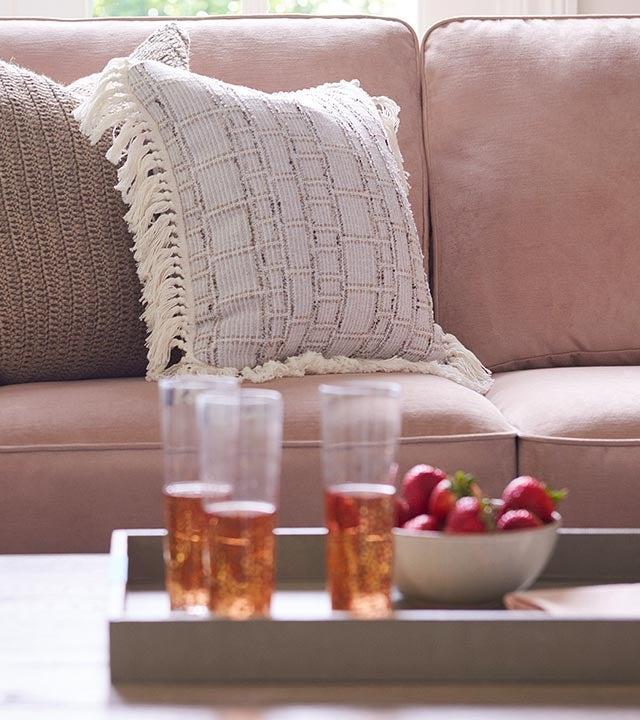 Closeup of Porter Sofa and accents