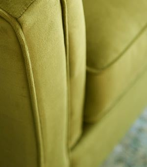 Closeup of Alexandria Sofa arm in conserve™ Sustainable Fabrics