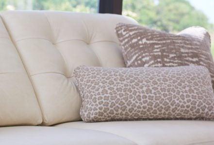 Closeup of Luke duo® sofa with custom pillows