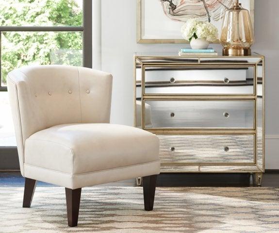 Nolita chair with mirrored-finish dresser
