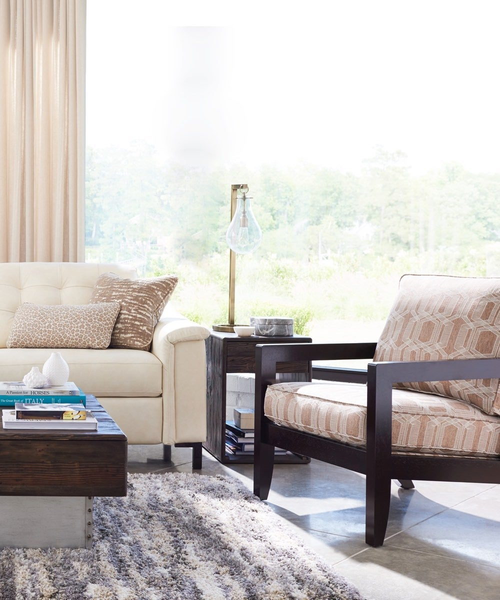 Fashionista room scene with Luke duo® sofa and chair and a half