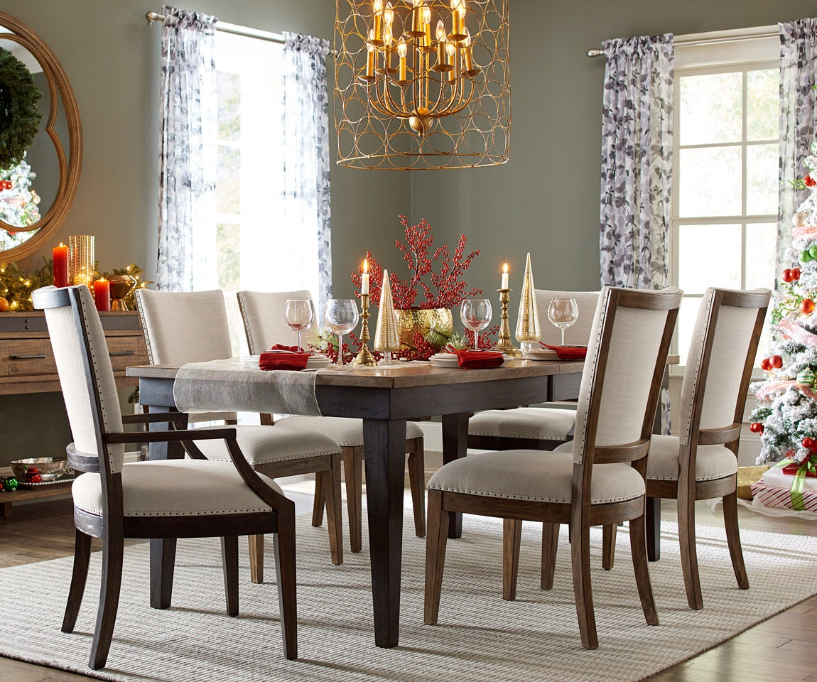 Home Decor Room scene with plank-road-howell-arm-chairs, dining table area rug and accessories