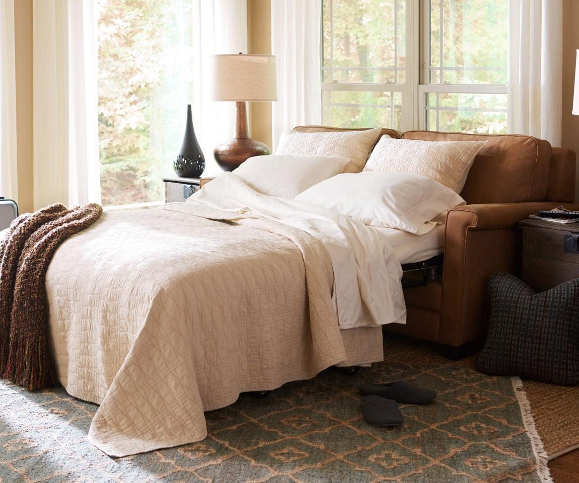 Closeup of Amanda Queen Sleep Sofa and accessories
