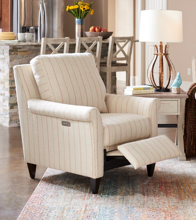 Room scene with Abby duo Reclining Chair and accessories