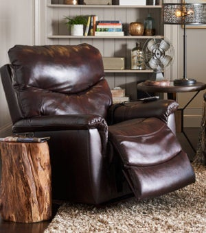 Closeup of James Power Recliner and accessories