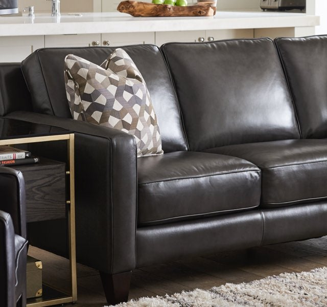 Closeup of Archer Sofa with leather cover