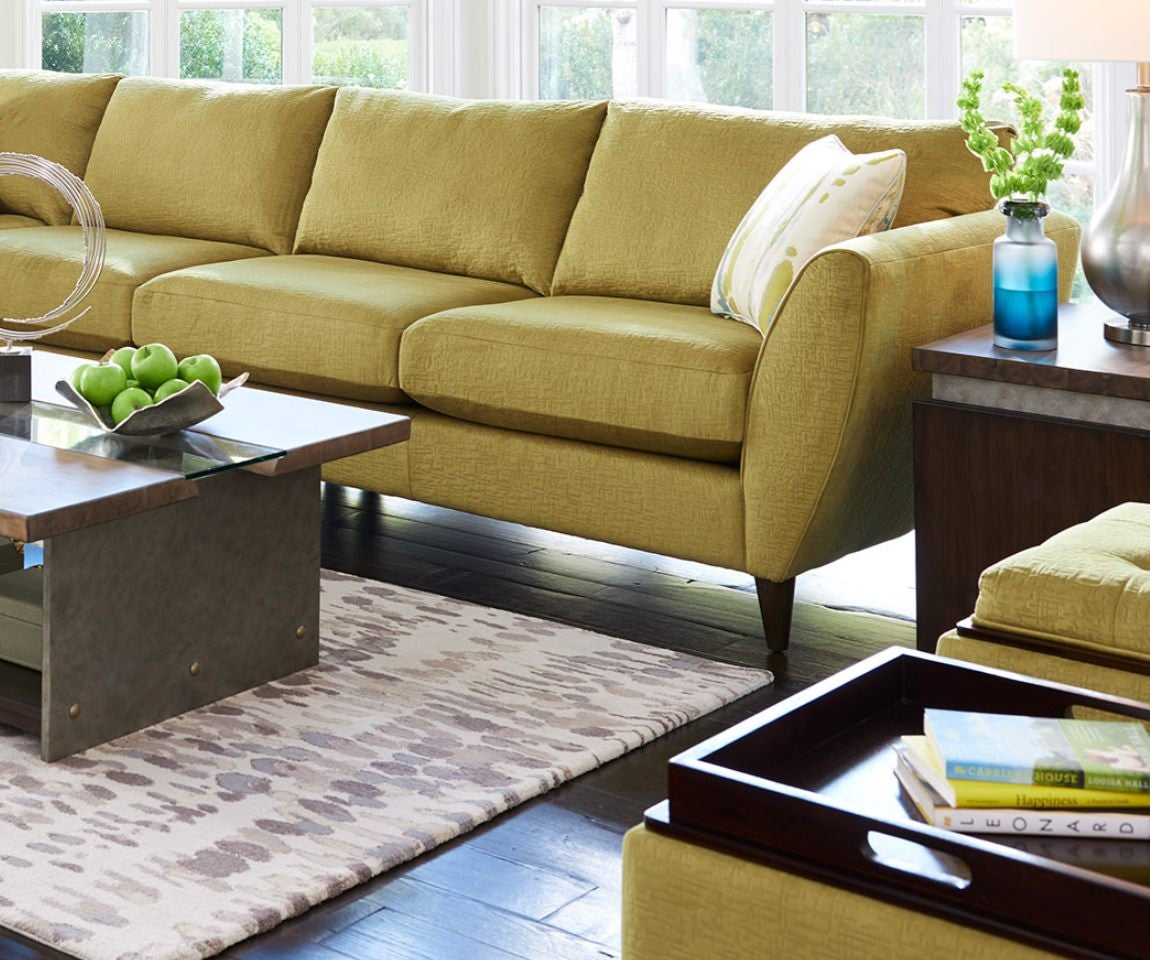 Mid-century modern room scene with Tribeca sectional sofa