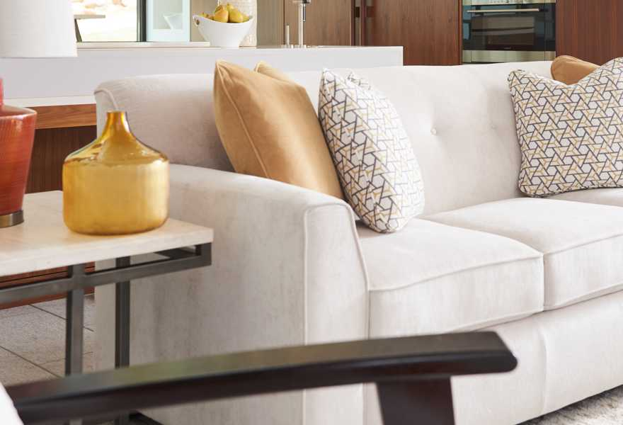 Closeup of York Sofa with customizations