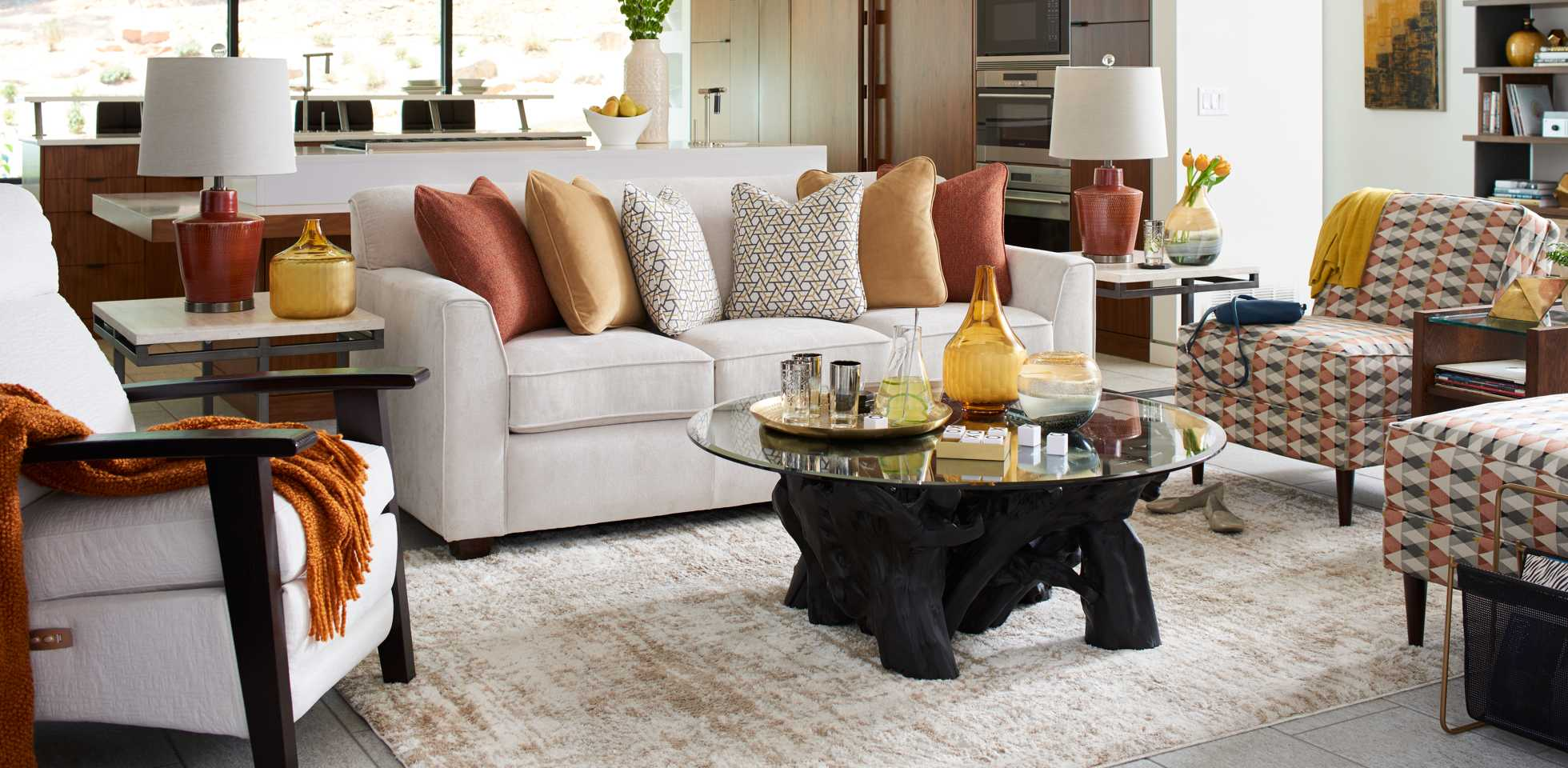 Living room scene with Dixie Sofa, East Park End Table, and Eve Chair