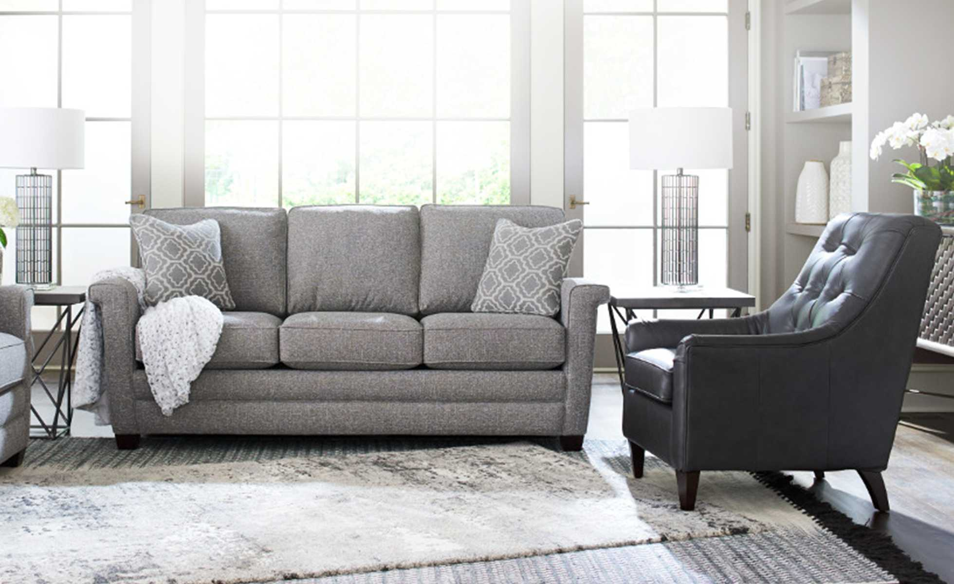 Living room with Bexley Sofa, Logan Circle Ottoman, and Marietta Chair