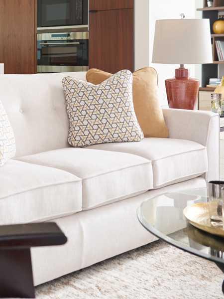 Closeup of York Sofa with customizations