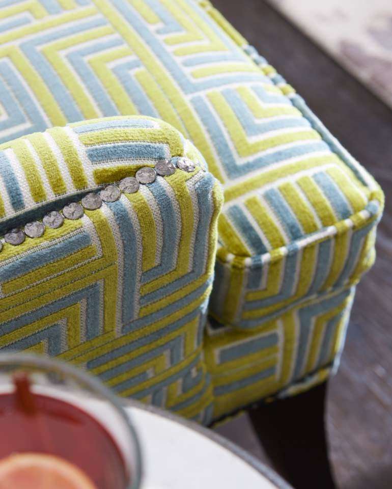 Close-up of Moscato occasional chair nailhead trim