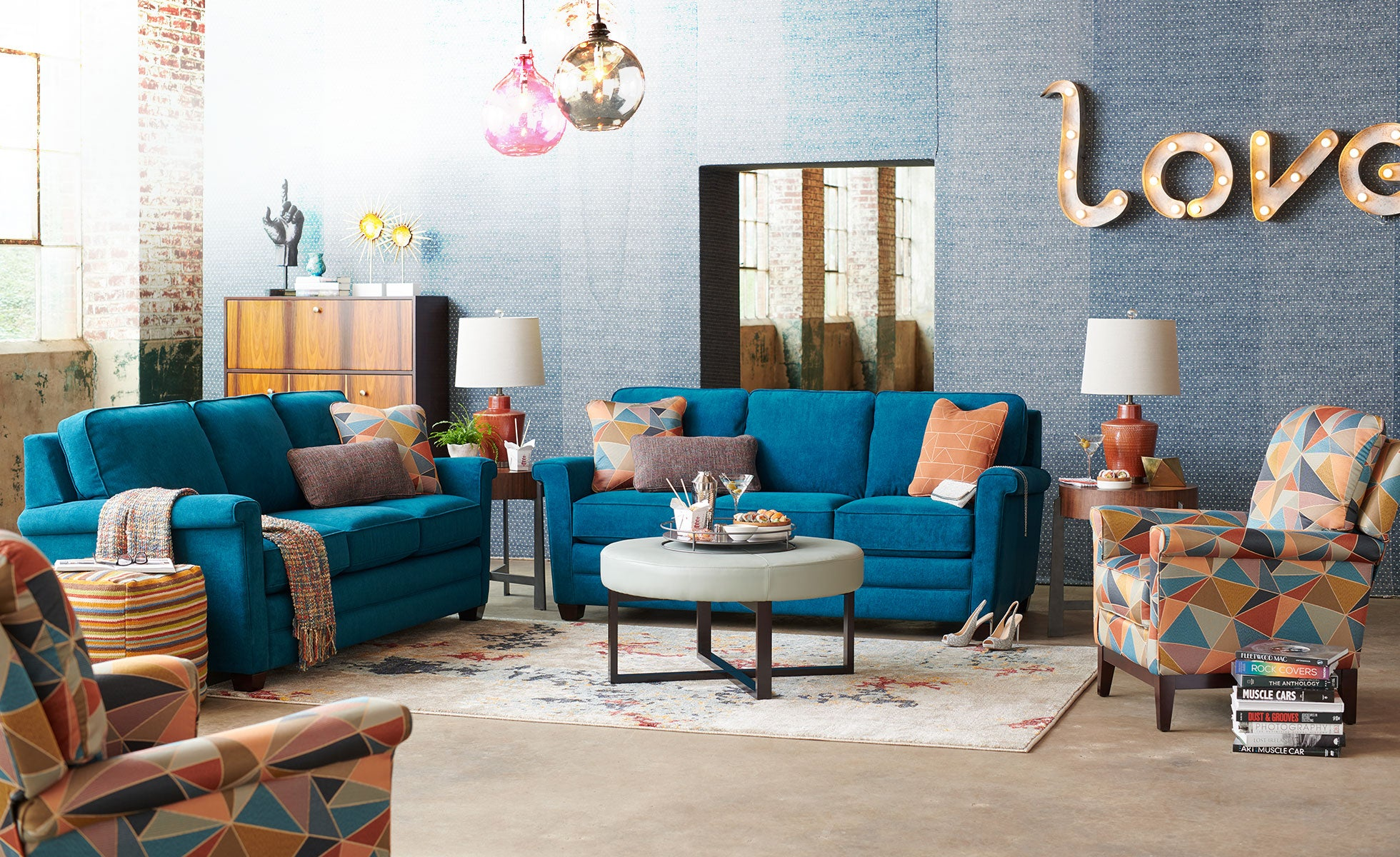 Room scene with Alexandria Sofa and accessories