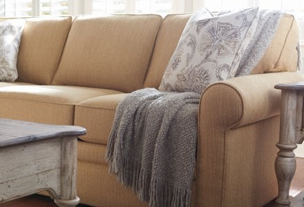 Collins Sofa with custom pillows and accessories