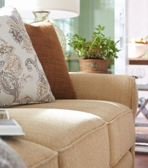 Closeup of pillows on Collins sofa