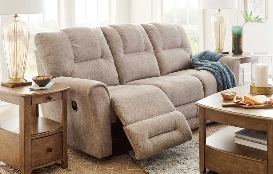 Serene living room with muted pinks, blues and grays
