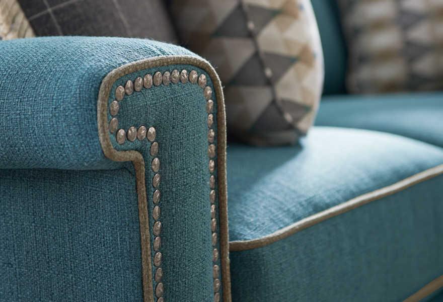 Closeup of sofa with customizations