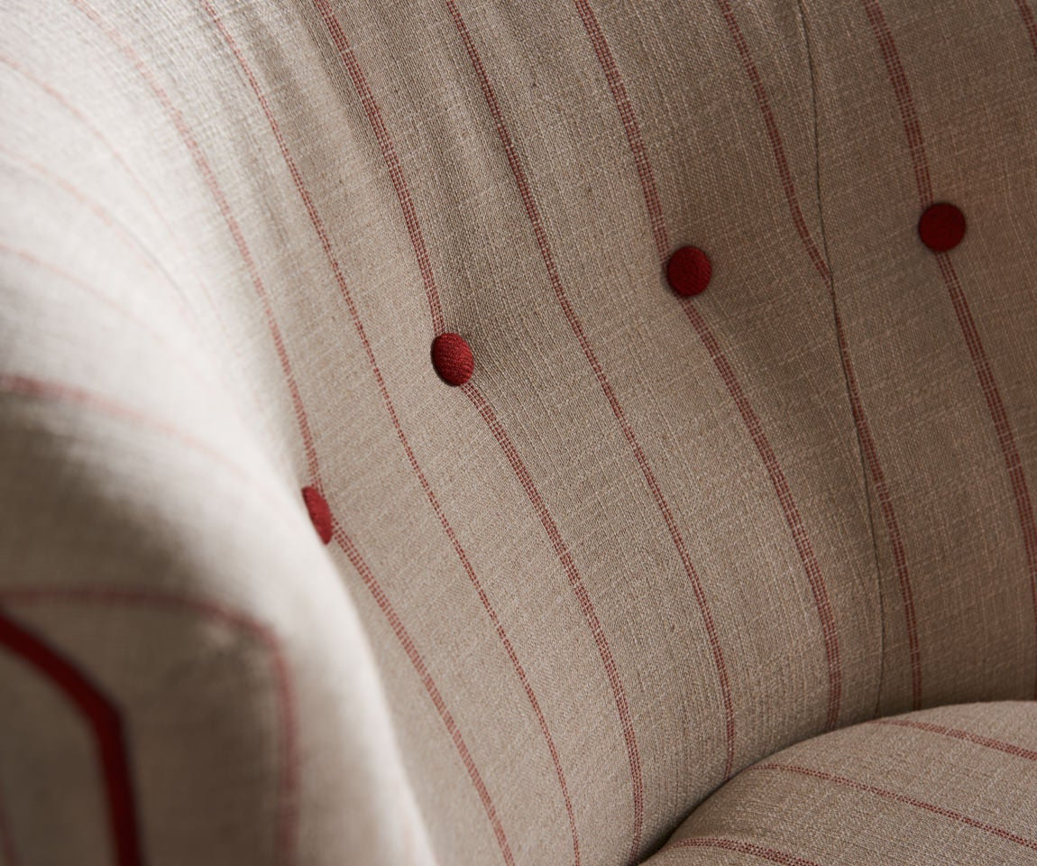 Closeup of Nolita Chair with a pinch of eye-catching paprika red