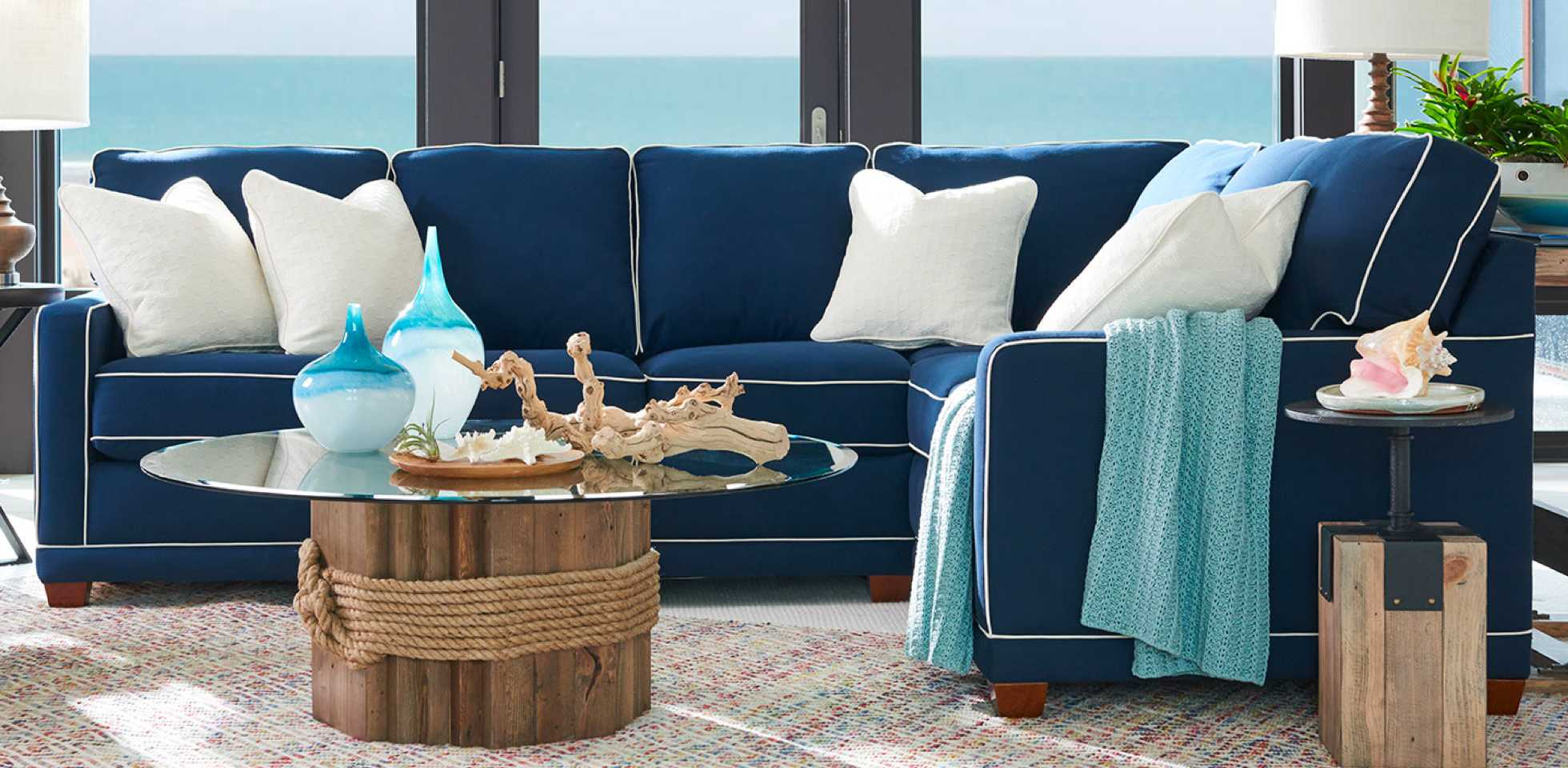Room scene with Kennedy Stationary Sectional and beach-inspired colors